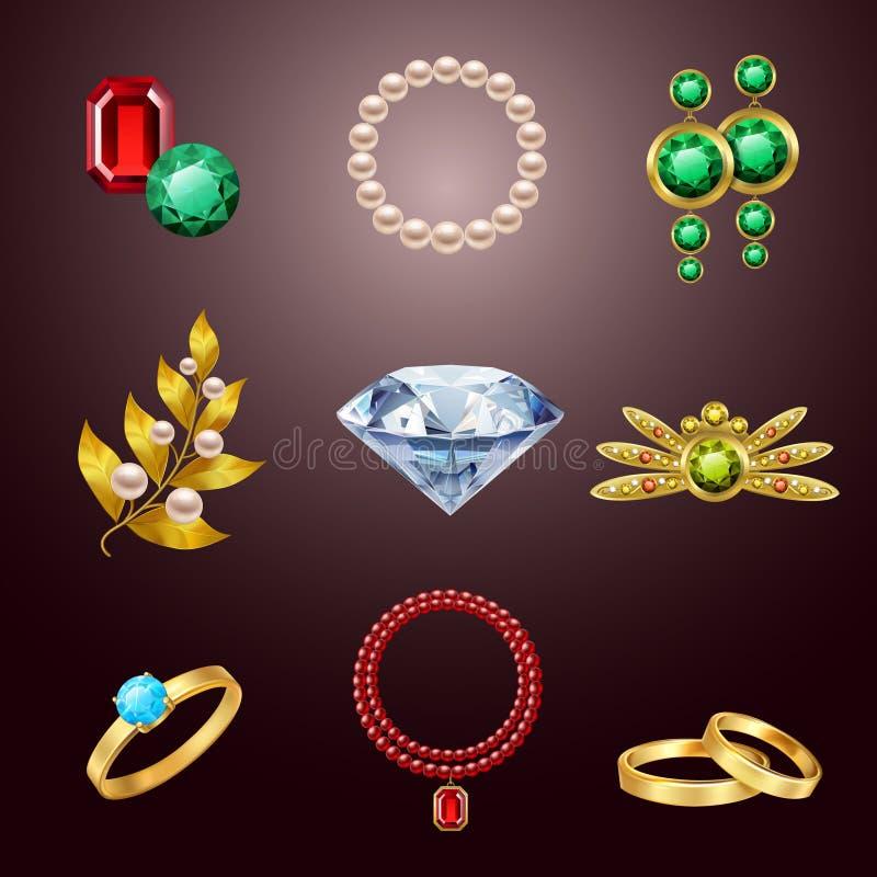 Icone realistiche dei gioielli royalty illustrazione gratis