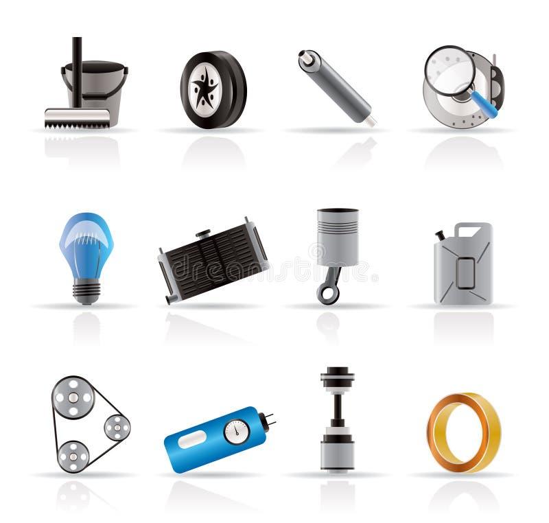 Icone realistiche delle parti e di servizi dell'automobile illustrazione vettoriale