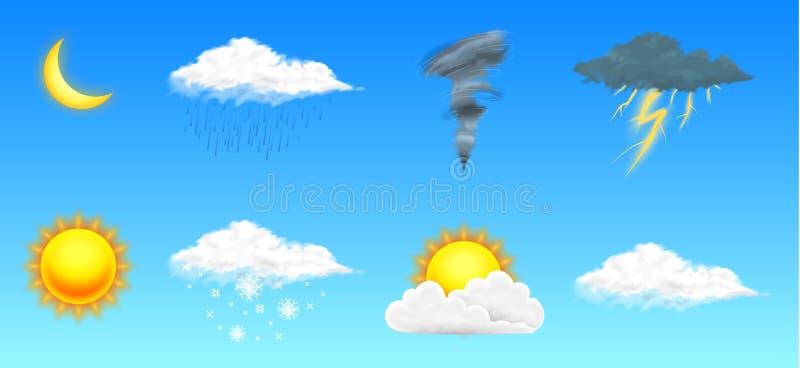 Icone realistiche moderne del tempo messe Simboli di meteorologia su fondo trasparente Illustrazione di vettore di colore per il  royalty illustrazione gratis