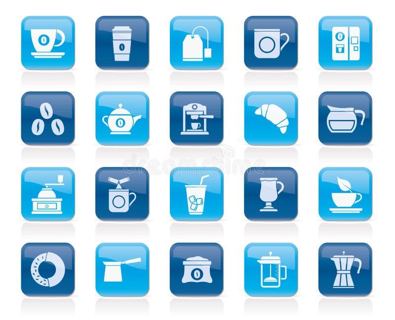 Icone relative del tè e del caffè illustrazione di stock