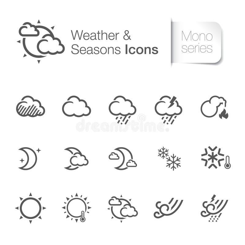 Icone relative di stagioni & del tempo illustrazione vettoriale