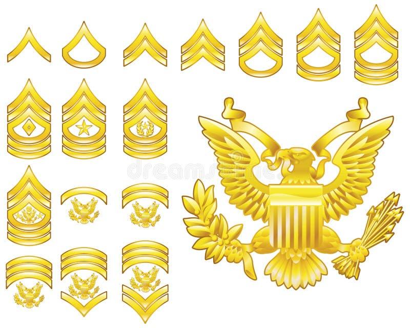 Icone rigogliose delle insegne arruolate esercito americano illustrazione vettoriale