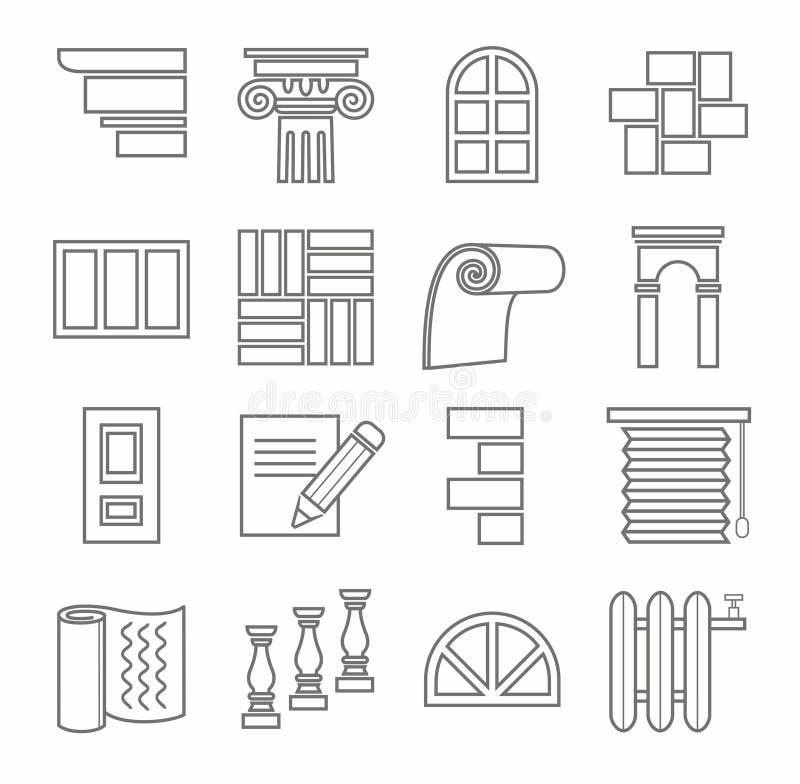 Icone, riparazioni, costruzione, materiali da costruzione, linea, profilo, monocromatico royalty illustrazione gratis