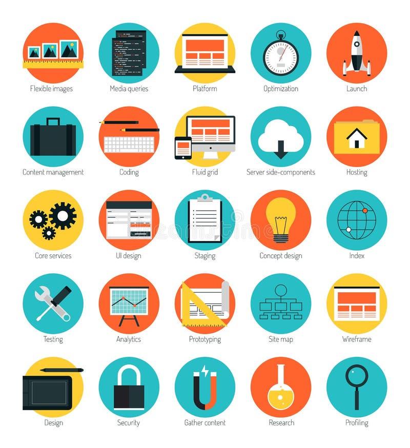 Icone rispondenti di web design messe illustrazione vettoriale
