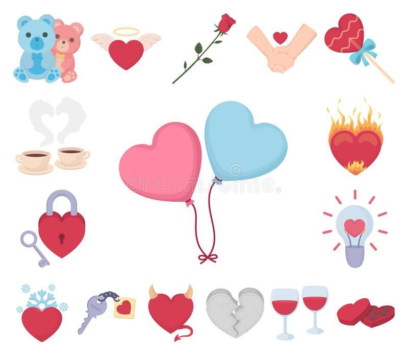 Icone romantiche del fumetto di relazione nella raccolta dell'insieme per progettazione Web delle azione di simbolo di vettore di illustrazione di stock
