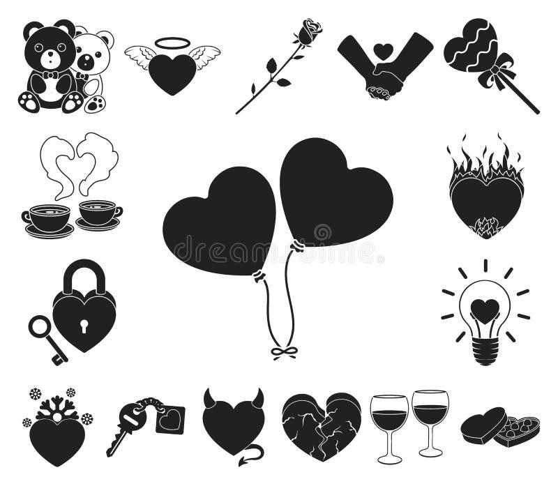 Icone romantiche del nero di relazione nella raccolta dell'insieme per progettazione L'amore e l'amicizia vector l'illustrazione  illustrazione vettoriale