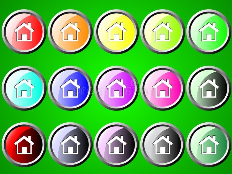Icone rond avec la maison illustration libre de droits