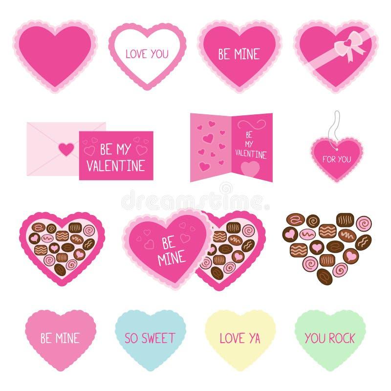 Icone rosa di saluto e della caramella di San Valentino immagine stock