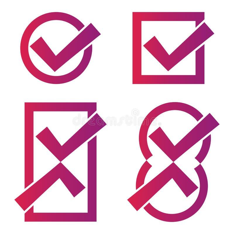 Icone rosse del segno di spunta illustrazione di stock
