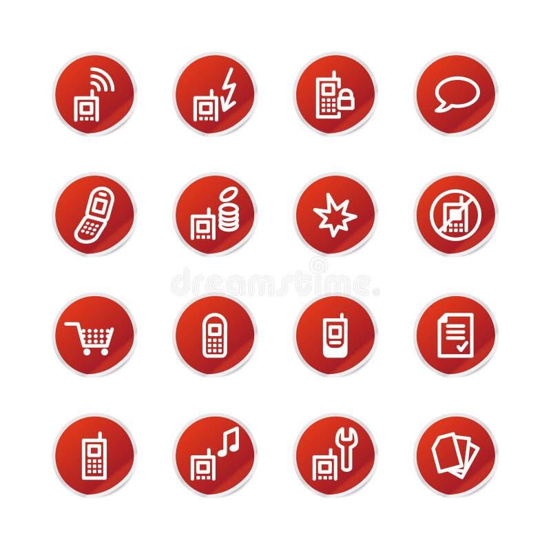Icone rosse del telefono mobile dell'autoadesivo illustrazione vettoriale