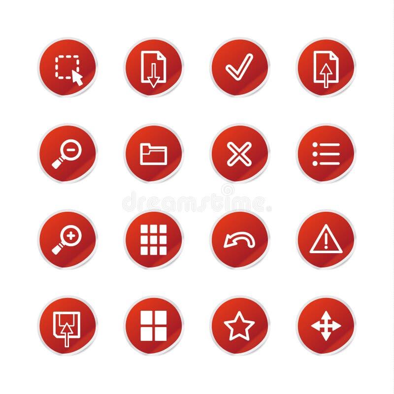 Icone rosse del visore dell'autoadesivo royalty illustrazione gratis