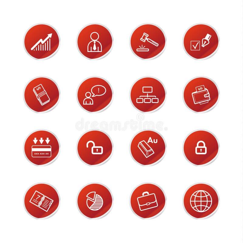 Icone rosse di affari dell'autoadesivo illustrazione di stock