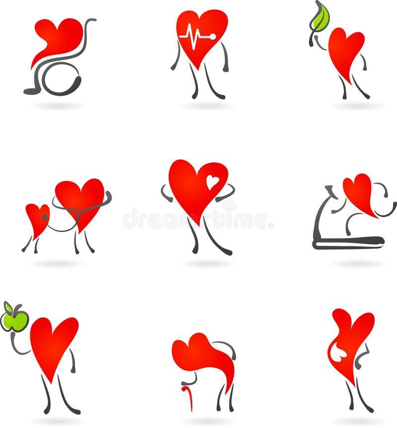 Icone rosse di salute del cuore illustrazione di stock