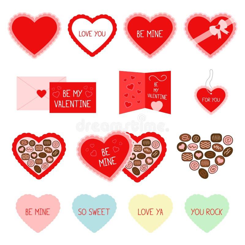 Icone rosse di saluto e della caramella di San Valentino fotografia stock