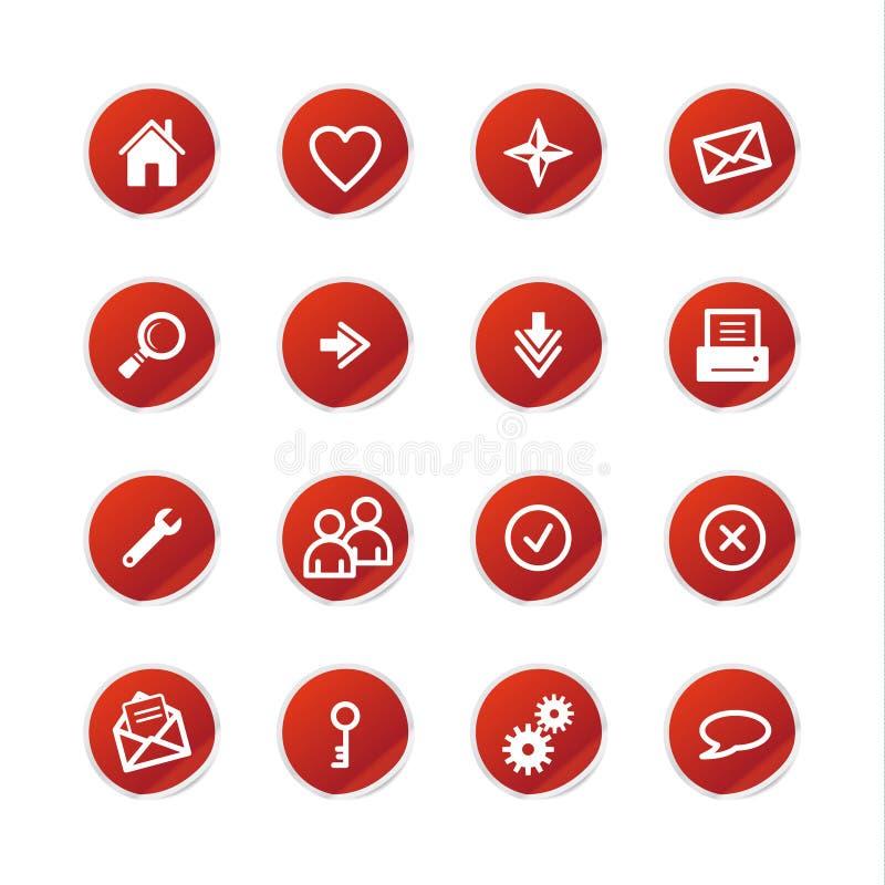 Icone rosse di Web dell'autoadesivo illustrazione di stock