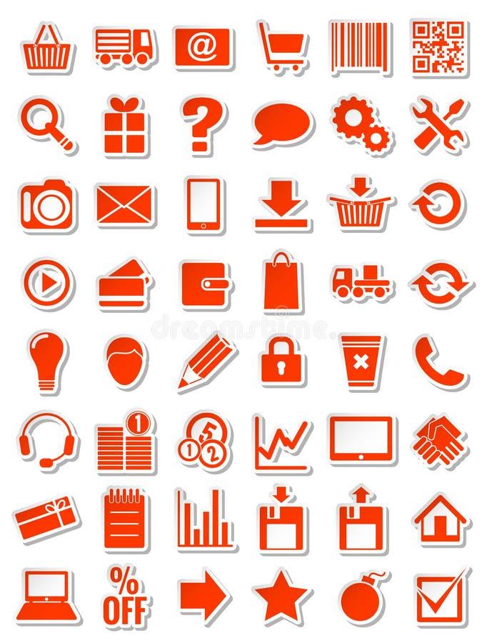 Icone rosse di web per eshop illustrazione di stock