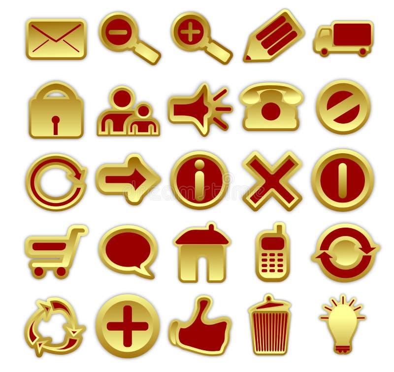 Icone rosse e dorate di Web illustrazione vettoriale