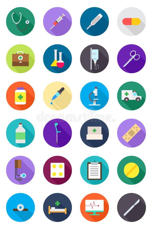 Icone rotonde della medicina di colore messe illustrazione vettoriale