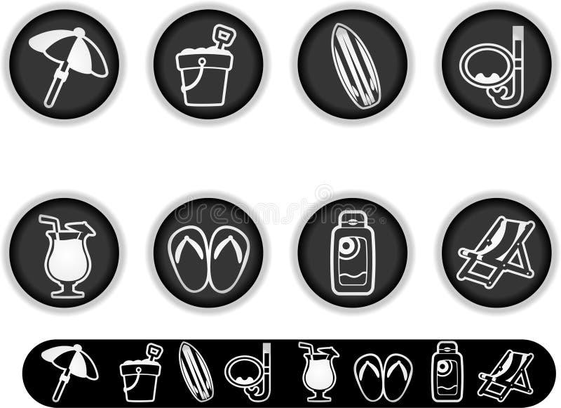 Icone rotonde di vacanza di estate illustrazione di stock