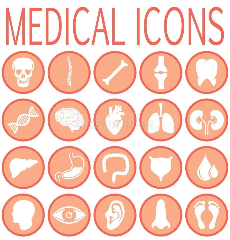 Icone rotonde mediche messe royalty illustrazione gratis