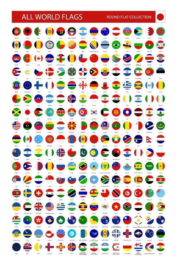 Icone rotonde piane di tutte le bandiere del mondo illustrazione vettoriale