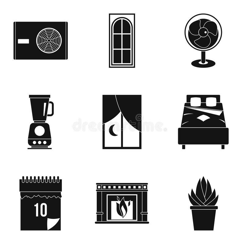 Icone routine messe, stile semplice del lavoro royalty illustrazione gratis