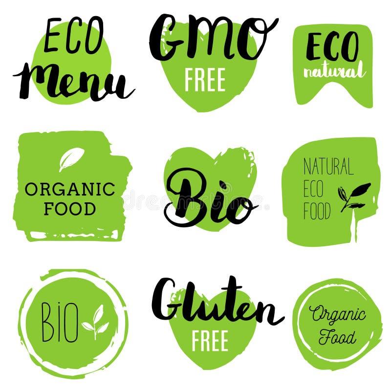 Icone sane dell'alimento, etichette Modifiche organiche Elementi del prodotto naturale Logo per il menu vegetariano del ristorant illustrazione vettoriale