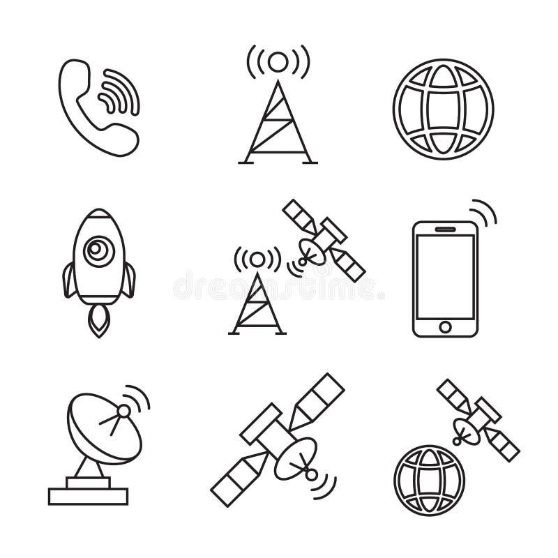 Icone satelliti Telecomunicazione via satellite, satellite senza fili, tecnologia del satellite del collegamento illustrazione vettoriale