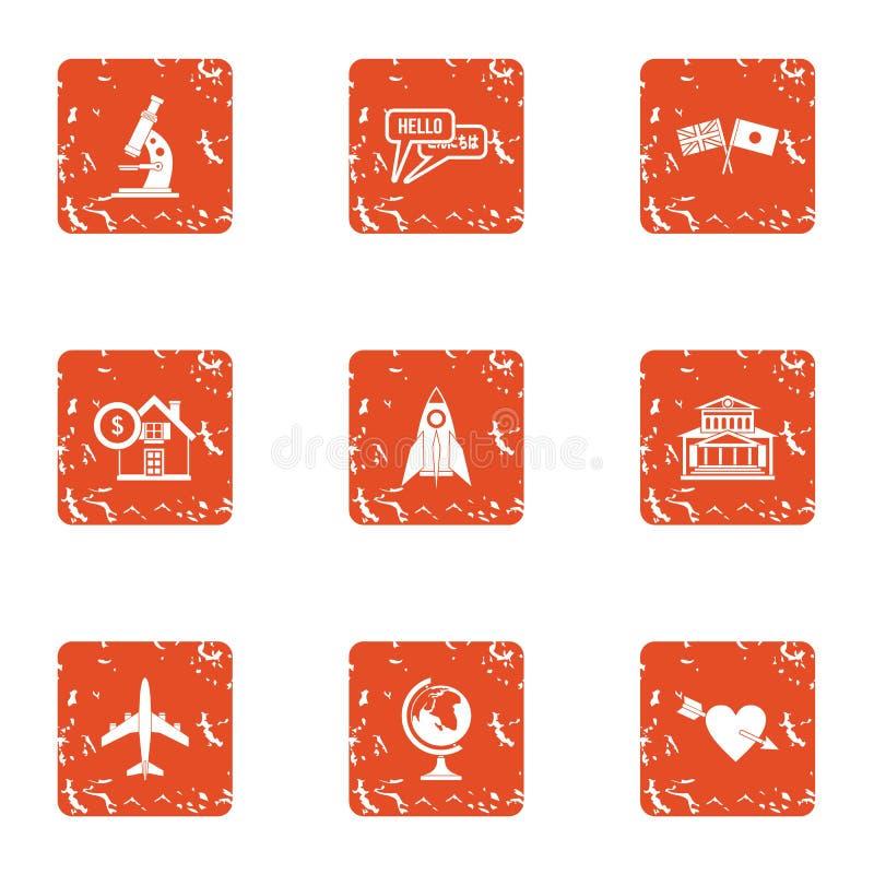Icone scientifiche messe, stile di missione di lerciume royalty illustrazione gratis