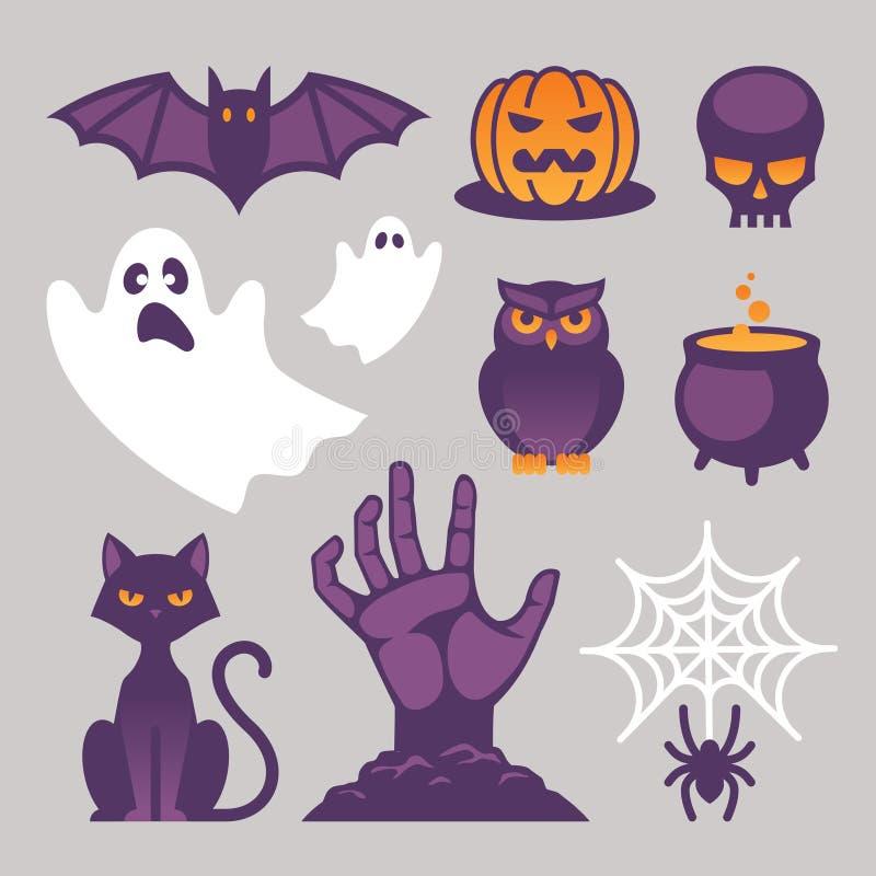 Icone, segni e simboli di Halloween illustrazione di stock
