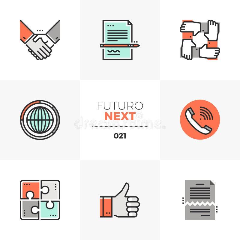Icone seguenti di Futuro di accordo di affari illustrazione di stock