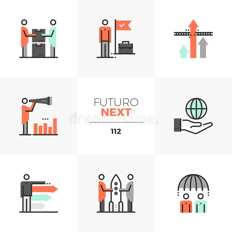 Icone seguenti di Futuro di cooperazione di affari illustrazione di stock