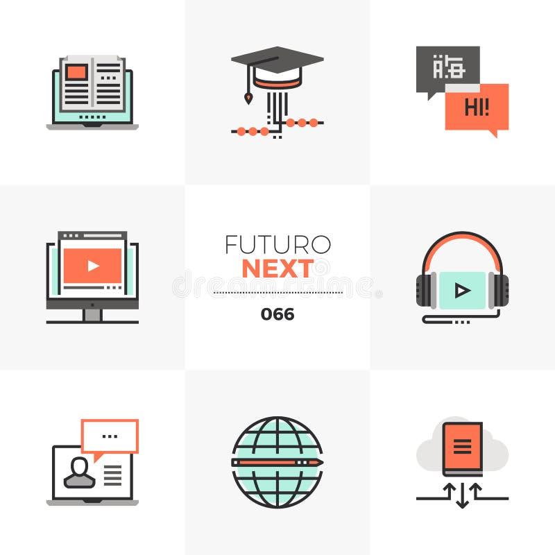 Icone seguenti di Futuro di corso online illustrazione di stock