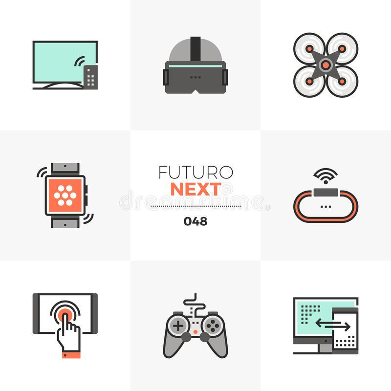 Icone seguenti di Futuro degli aggeggi di tecnologia royalty illustrazione gratis