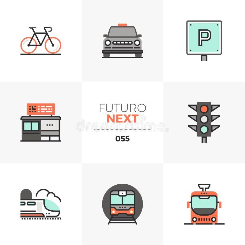 Icone seguenti di Futuro del trasporto stradale illustrazione di stock