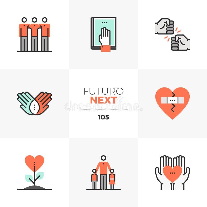 Icone seguenti di Futuro della cultura di amicizia illustrazione vettoriale