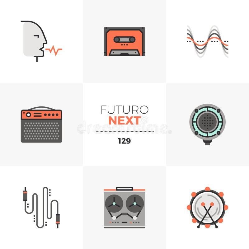 Icone seguenti di Futuro della registrazione del suono illustrazione vettoriale