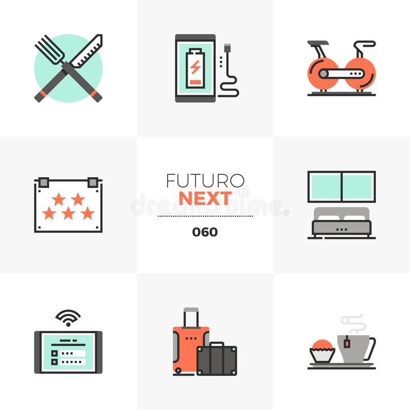 Icone seguenti di Futuro della sistemazione di hotel illustrazione vettoriale