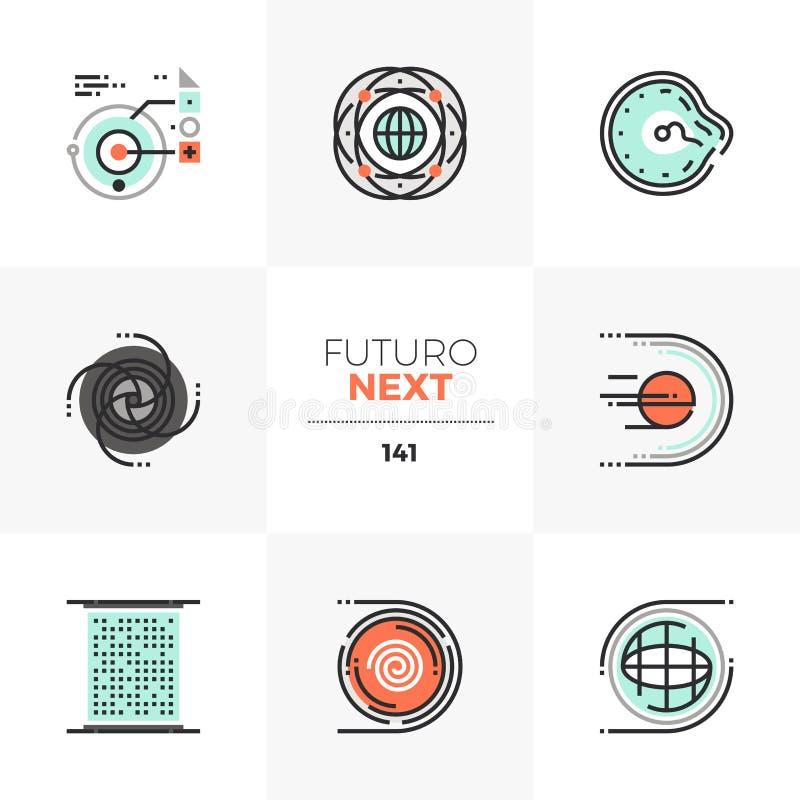 Icone seguenti di Futuro dello spazio astratto illustrazione vettoriale