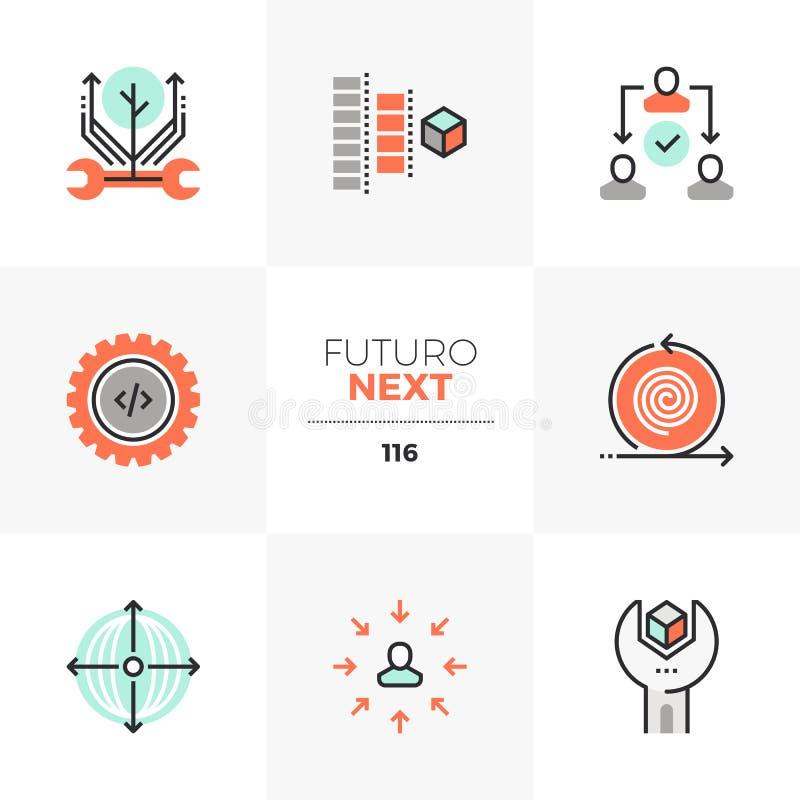 Icone seguenti di Futuro di processo di produzione illustrazione vettoriale