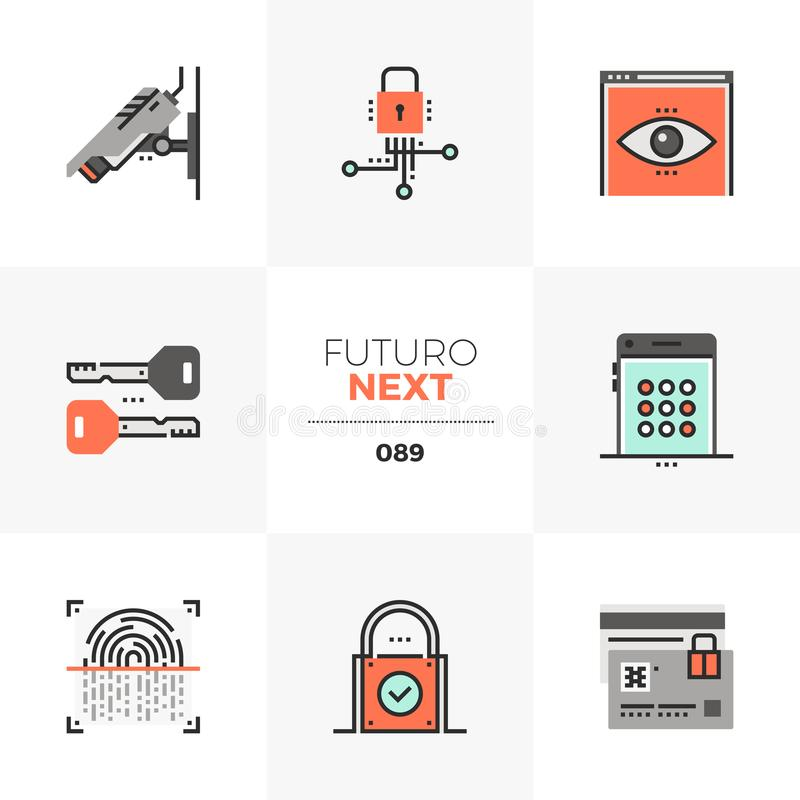 Icone seguenti di Futuro di protezione di segretezza illustrazione vettoriale