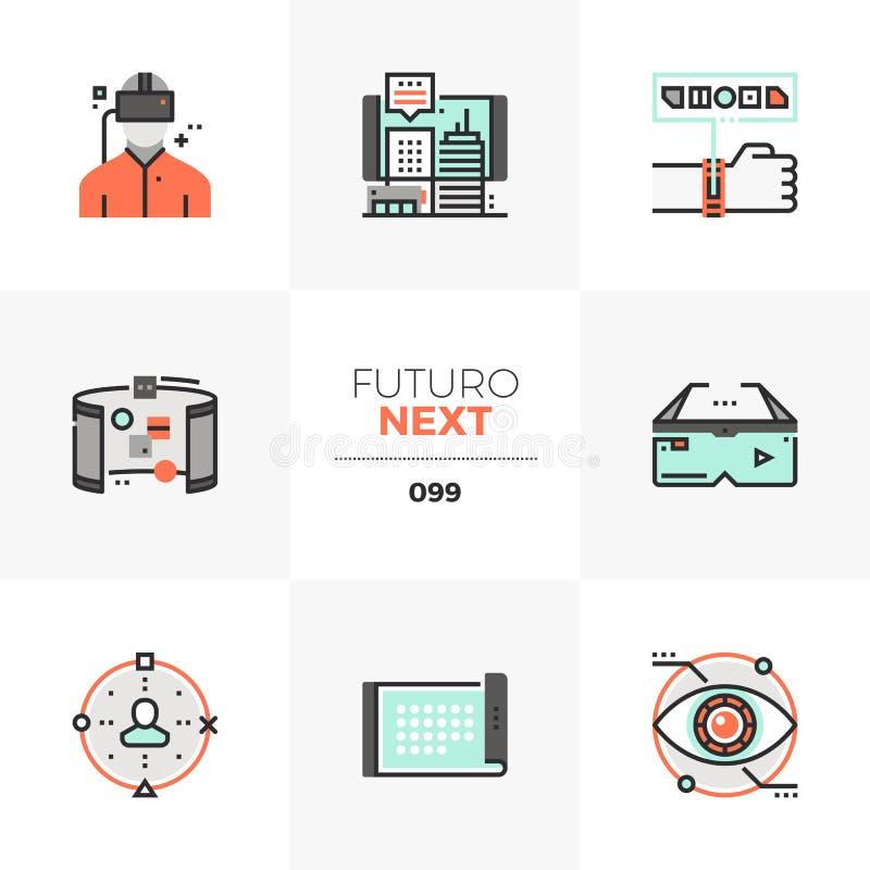 Icone seguenti di Futuro di realtà virtuale illustrazione di stock
