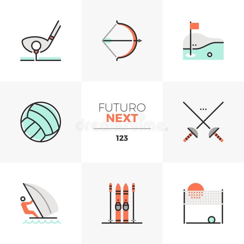 Icone seguenti di Futuro di sport ricreativi illustrazione di stock