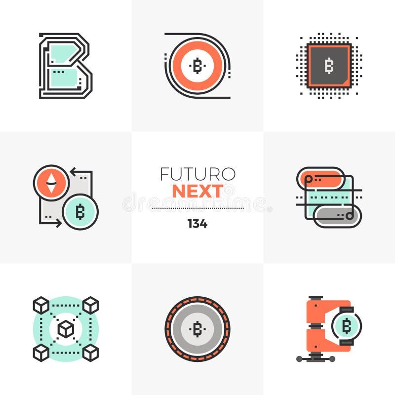 Icone seguenti di Futuro di tecnologia di Blockchain illustrazione di stock