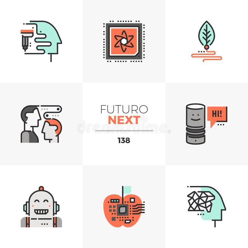 Icone seguenti di Futuro di tecnologie emergenti illustrazione di stock