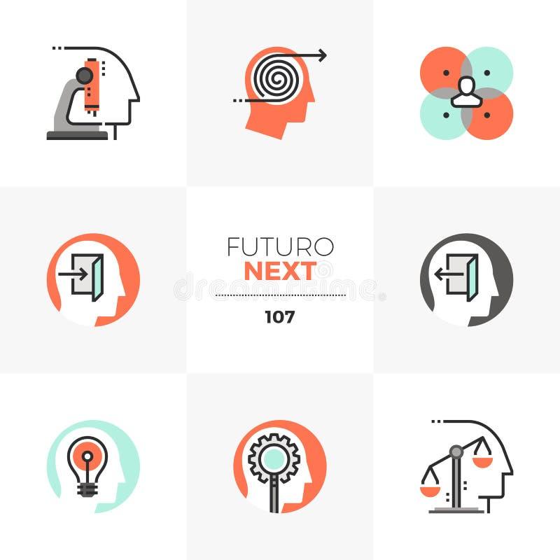 Icone seguenti trattate mentali di Futuro illustrazione vettoriale