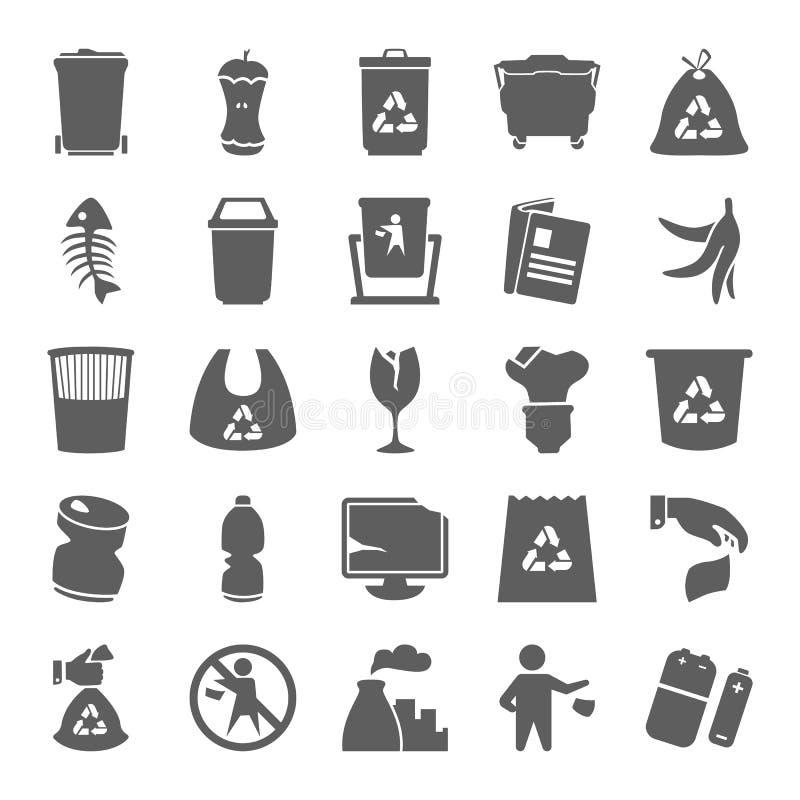Icone semplici dei rifiuti e dell'immondizia messe per il web e la progettazione mobile royalty illustrazione gratis