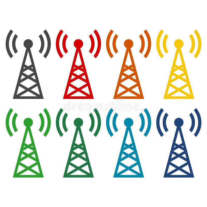 Icone semplici del trasmettitore messe illustrazione vettoriale