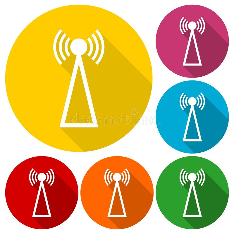 Icone semplici del trasmettitore messe con ombra lunga illustrazione vettoriale