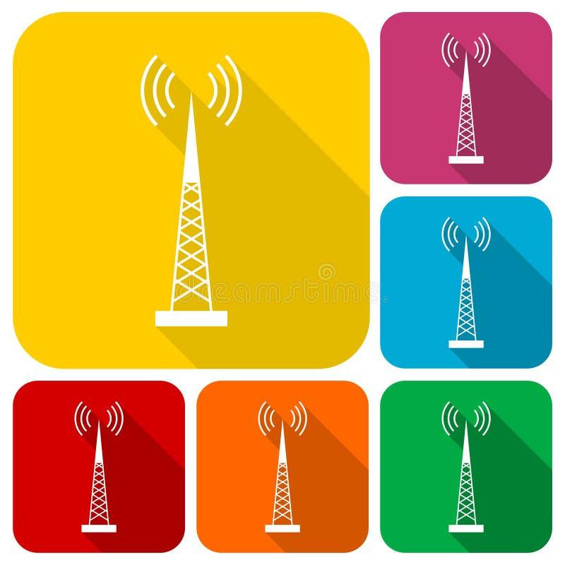Icone semplici del trasmettitore messe con ombra lunga royalty illustrazione gratis
